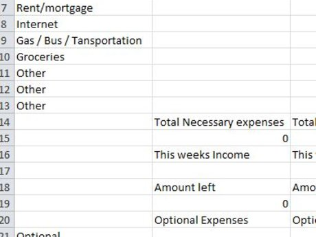 52 Week Xcell Budget Spread Sheet