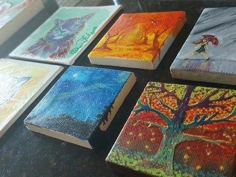 Tiny acrylic paintings