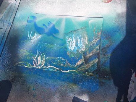 Mermaid Shipwreck Spray Paint Art