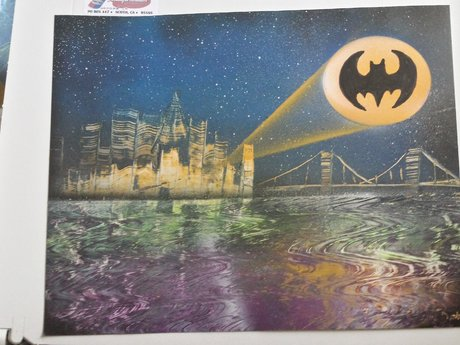 Bat Signal Spray Paint Art 11x14
