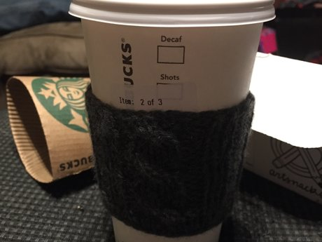 Hand knit coffee sleeve (grey)