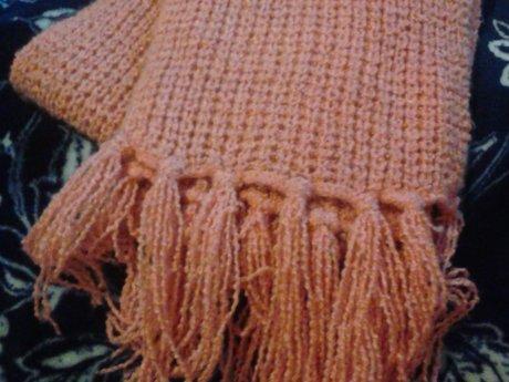 Peach Scarf (6ft/ 2m) Acrylic Yarn