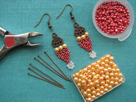 One pair of custom beaded earrings