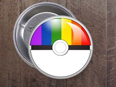 LGBTQ Pokemon Ball Button -$0 ship