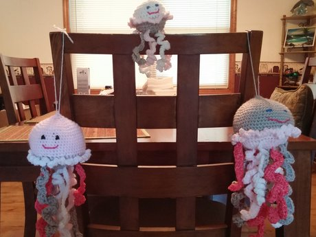 Handmade crocheted jellyfish