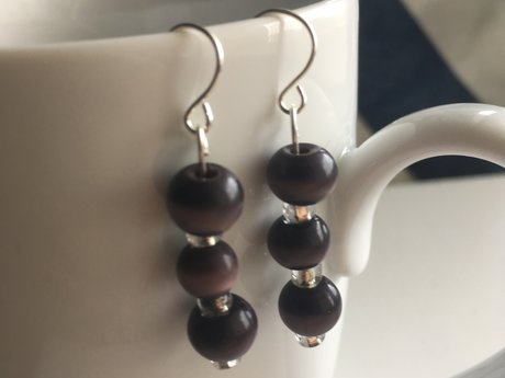 Dark purple swirl bead earrings