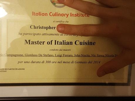 Cert Master Italian Chef consulting