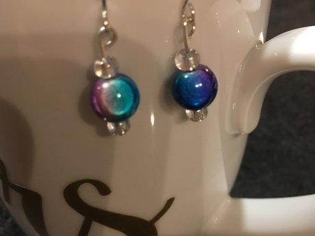 Purple blue rainbow earrings