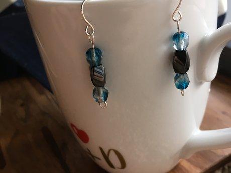 Blue magnet earrings