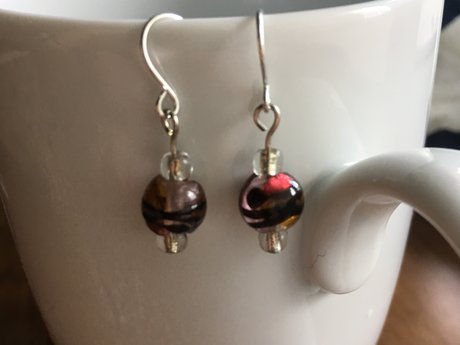 Red yellow and purple party earring