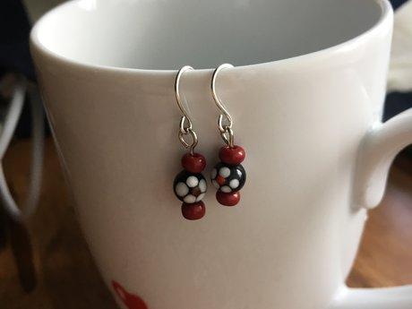 Dark red flower earrings