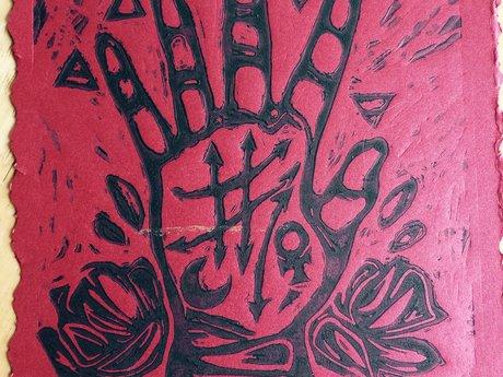 Alchemy Palm Linocut/Letterpress