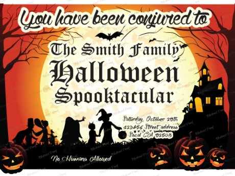 MOON Halloween premade Invitation