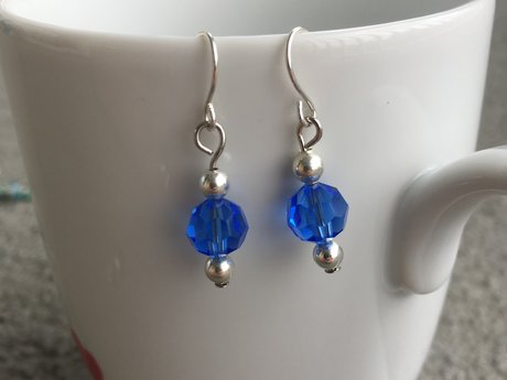 Simple Blue and Silver Drop Earring
