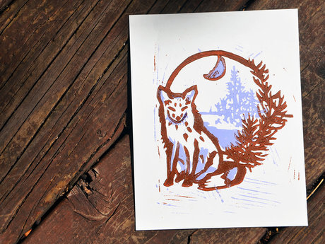 Linocut Animal or Plant Print