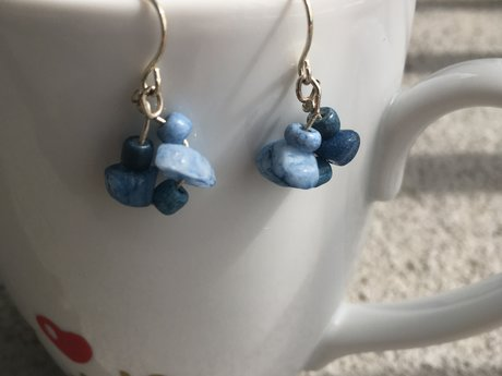 Blue rock cluster Earrings