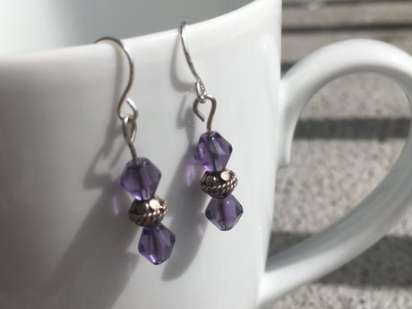 Purple Pendulum Earrings