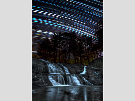 Waterfall Star trail (Digital)