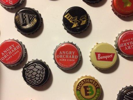 5 random bottle cap magnets