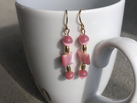Pink and gold shape earrings