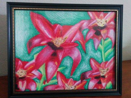 9x12 Oil Pastel Flowers Art Print