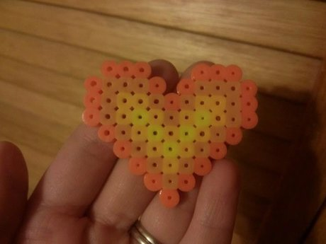 Perler Bead Heart (Orange & Yellow)
