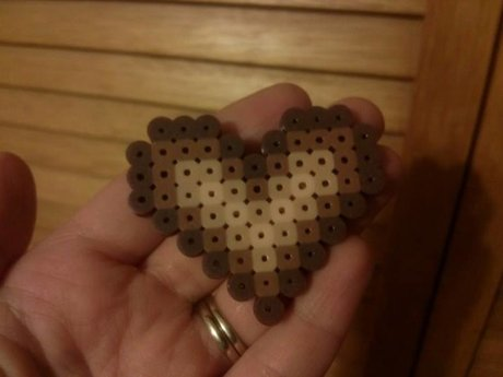 Perler Bead Heart (Browns & Tans)
