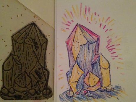 Mini linocut: crystal cluster