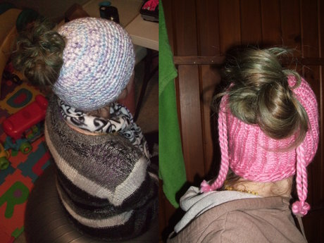 Crochet or knit messy bun hat