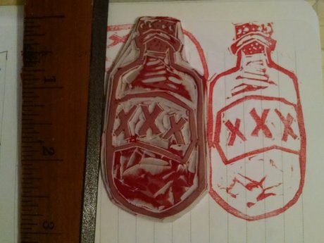 Mini lino cut: bottle uh hooch