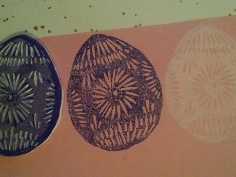 Mini linocut: Easter egg