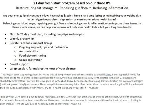 21 day Fresh Start Program