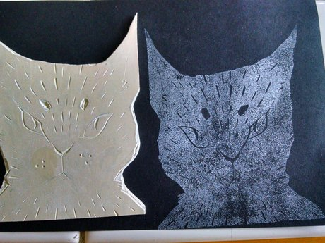 Linocut: grouchy cat
