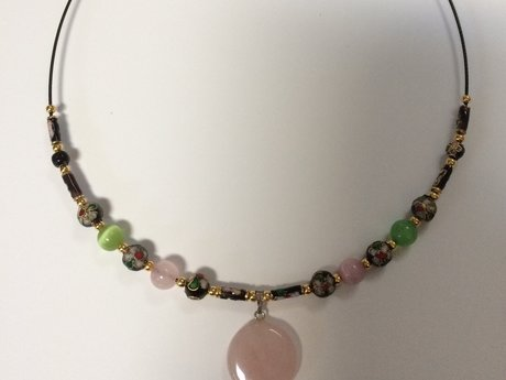 Jade and Cloisonné Bead Neaklace