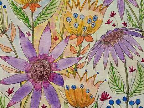 Watercolor painting flowers cute