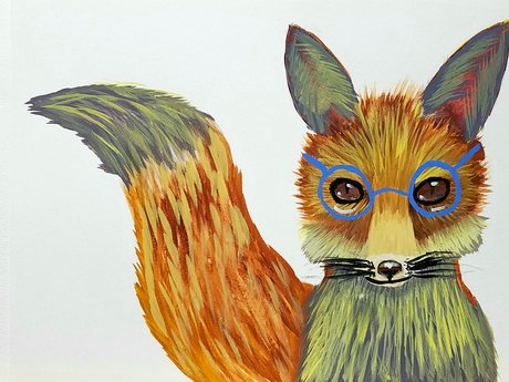 Smart Fox watercolor painting by me