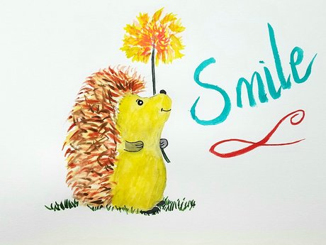 Cute hedgehog Watercolor with flowe