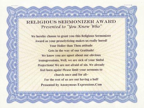Religious Sermonizer Award, Funny!