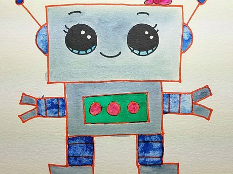 Girl Robot Watercolor Painting