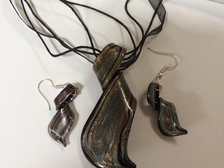Acrylic Pendant and Earrings